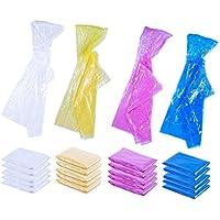 Ponchos de Lluvia para niños, Paquete de 20 Chubasqueros con Capucha, Poncho de Emergencia desechable, 4 Colores, 42 x 60 Pulgadas
