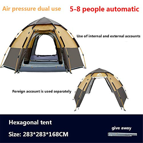 Kuppelzelte LIUSIYU Automatic Pop Up 3-8 Personenzelt 4 Season Anti-UV Wasserdicht Winddicht Ultralight Camping Outdoor schnell automatisch offen sechseckiges Zelt,Orange
