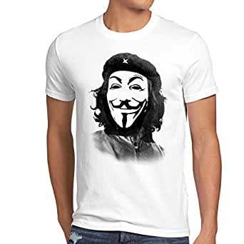 style3 Anonymous CHE T-Shirt Homme guevara hacktivisme cyberculture Guy Fawkes, Taille:S;Couleur:Blanc