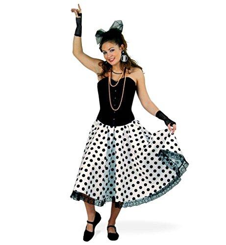 fenrock Daisy 50er Jahre Tellerrock Tanzrock Rockabilly 60 er Jahre Damen Rock Kostüm schwarz weiß gepunktet (44) (50's Und 60's Rock And Roll Kostüme)