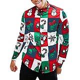 SEWORLD Weihnachten Christmas Herren Männer Weihnachtsmänner Herbst Winter 3D Weihnachten Drucken Langarm Schlank Shirt Top Bluse(Weiß,EU-50/CN-L)