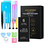 ockered Battery for IPhone 6, original 2200 mAh high capacity spare battery with tool kit and repair kit, battery replacement manual, 2 years warranty 100%