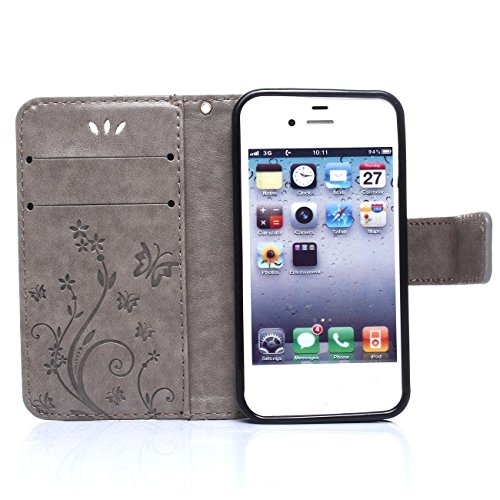 iPhone 5s Coque, LANDEE Ultra-mince PU Cuir Etui Portefeuille pour iPhone SE / 5S / 5 Housse Case (5S-P-0403) 5S-P-0403