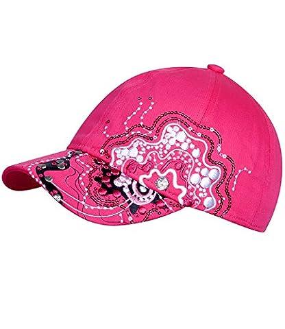 Fiebig Mädchenbasecap Basecap Baseballcap Sommercap Kappe Streetwear mit Gummizug und Stickerei sowie Pailletten für Kinder (FI-67347-S16-MA3-74-57) in rose, Größe 57 inkl. EveryHead-Hutfibel