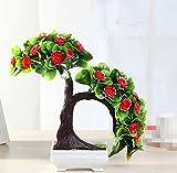 LOF-fei Künstliche Pflanzen Topfpflanzen Dekoration Büro Esstisch Zubehör,Grün Rot square Keramik Blumentöpfe