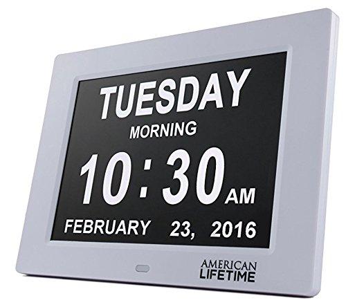 Digitale Kalenderuhr - Digitaluhr mit extra großer Schrift für Kinder, Senioren, Sehschwache und Alzheimer Patienten, mit 5 Alarm Optionen (weiß)
