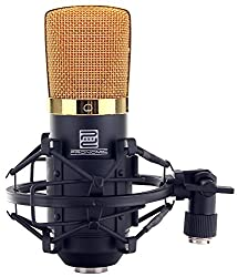 Pronomic CM-22 Studio Großmembranmikrofon XLR-Kondensatormikrofon (mit Mikrofonspinne, Etui, Windschutz, Reduziergewinde und Transportkoffer) schwarz