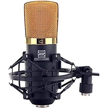 Pronomic CM-22 Studio Großmembranmikrofon XLR-Kondensatormikrofon (32mm Kapsel, Nierencharakteristik, inkl. Mikrofonspinne, Etui, Transportkoffer) schwarz gold