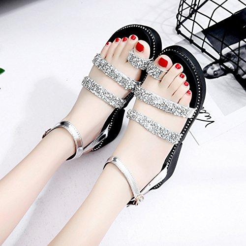 RUGAI-UE Con suole spesse sandali Donna Scarpe estive pendenza White