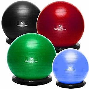 #DoYourFitness® Gymnastikball inkl. Ballschale & Handpumpe – erhältich in 55cm 65cm 75cm o. 85cm | Fitnessball Büroball Yogaball Pilatesball | berstsicher & Rutschfest