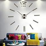 KESOTO Groß XXL 3D Wand Uhr Wanduhr Wandtattoo Wandsticker Aufkleber Spiegel Deko für Wohnzimmer - Silber #3