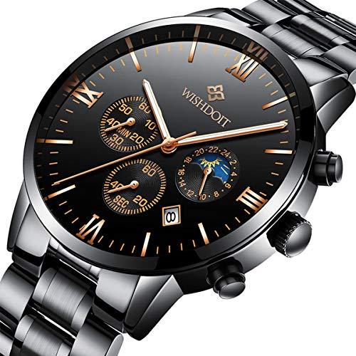 Orologi uomo nero acciaio inossidabile impermeabile quarzo analogico orologio da uomo moda casuale sport cronografo data orologio da polso