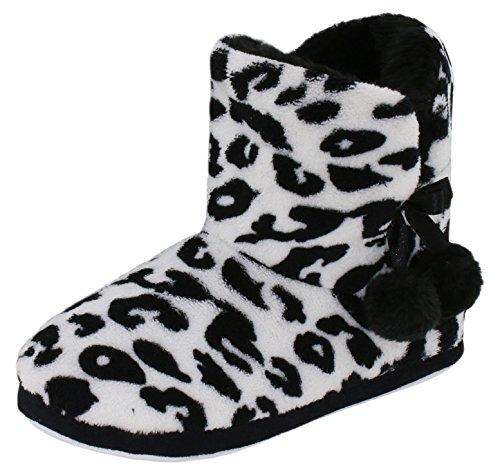 Kuschelige Damen Hüttenschuhe Hausstiefel Plüsch mit Muster und Bommel - Farbe: Leopard - Größe: 38 - von Brandsseller