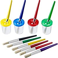 4 Pieces Spill Proof Paint Cups in 4 Colors and 10 Pieces Assorted Colored Brushes Set