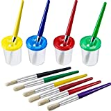 4 Piezas Botes de Pintura a Prueba de Derrames en 4 Colores y Set de 10 Piezas Pinceles de Colores Variados