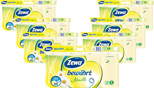 Zewa Toilettenpapier Bewährt Kamille Riesenpackung, 7 X 8 Rollen Mit Je 150 Blatt, 7 Packungen