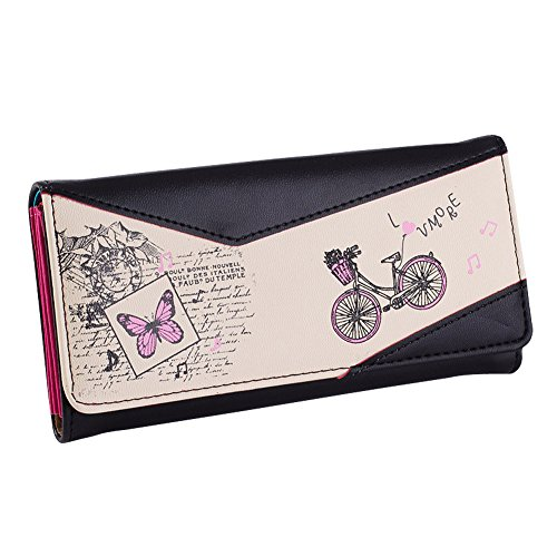 Hrph Long Women PU Leather Wallet Bicycle Butterfly Print Purse Women Press Stud Cute Coin Bill Bag Card Holder Wallet Test