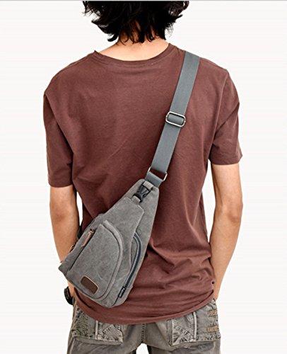 Sifini sport outdoor casual tela sbilanciare zaino borsa Tracolla Sling petto borsa a tracolla per uomini, Black Grey