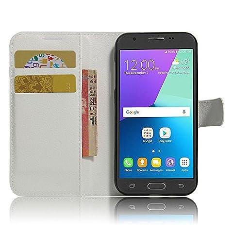 SMTR Samsung J3 2017 Coque PU Cuir Flip Housse Étui Cover Case Wallet Portefeuille Supporter avec Carte de Crédit Fentes pour Samsung J3 2017 -blanc