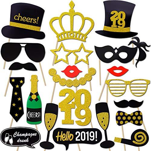 Howaf 2019 Neujahr Fotorequisiten Fotoaccessoires (21Pcs), Silvester Photo Booth Props Verkleidung Mitbringsel Maske Party Zubehör für Erwachsene Kinder Silvester Deko 2019 Silvester Party Dekoration
