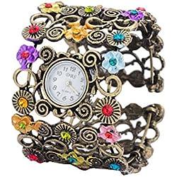 LEORX Vintage Women Floral Bracelet Watches Wristwatch (Bronze)