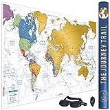 Mapamundi para rascar para viajeros y familias - Scratch off world map poster más grande (84x57cm) y con más destinos - Incluye antifaz para un sueño profundo y reparador