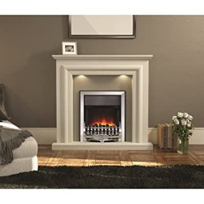 Modern LED Electric Fireplace Suite in Soft White - Energy Efficient - Includes LED Bulbs