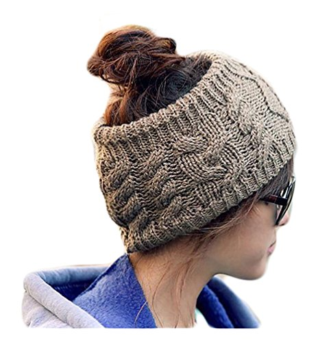 Hengsong Femme/ Fille Tricoté Bandeau Tressé Head Wrap Crochet Band Cheveux Gris