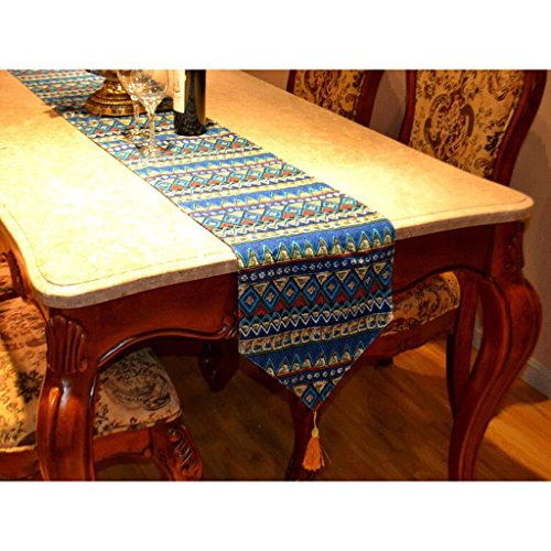 QZZ Nappes Fashion Triangle Printing Linen Table Runner (Couleur : Bleu, taille : 30 * 220cm)