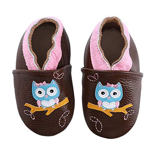 koshine Weiches Leder Krabbelschuhe Baby Schuhe Kinder Lauflernschuhe Hausschuhe 0-3 Jahre (0-6 Monate, Eule)