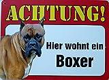 Schild 14x19cm - Hier wohnt ein Boxer Hund Haus Alu Coupon dipond