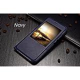 Funda tipo libro con ventana para Huawei G8 color azul oscuro