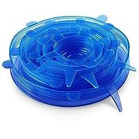 Silicone Stretch Fresh Food Storage Cover Stretch Bowl Lids 6 Pack, Blue
