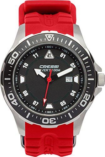Cressi Manta Reloj Submarino, Unisex Adulto, Plateado / Negro / Rojo, U