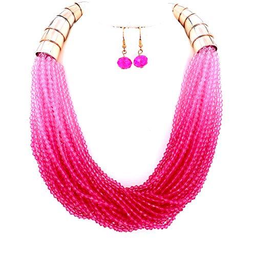 Sammlung Kostüm Stammes - Modeschmuck Mädchen Lange Harz Rosa Perlen Kragen Halskette und Ohrringe Set Für Frauen