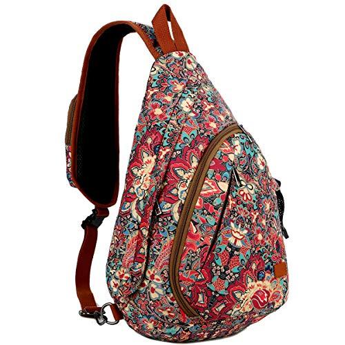 BAOSHA Damen Brusttasche Sling Rucksack Crossbody Bag Schultertasche Umhängetasche für Schule, Sport, Radfahren, Reisen Daypack (Mehrfarbig)
