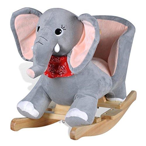 vidaXL Elefante a Dondolo Bimbo Morbido Sdraietta Gioco Giocattolo Cavalcabile