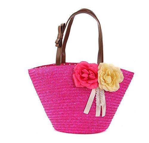 Borsa a tracolla a due fibbie di spalla delle donne Borsa a maglia delle donne a maglia delle donne tessute floreali Tote di spiaggia di estate di viaggio di svago , yellow rose red