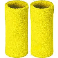 WenderGo Wrist Sweatband 2 Pack, 6 Inch Long Thicken Elastic Wristband Sports Sweatband Soft Cotton,for Tennis Badminton Basketball Football Squash Exercise Gym (Yellow)