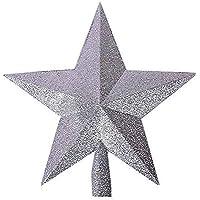 SODIAL(R) Estrella de Navidad Parte superior del arbol de Navidad Decoracion del arbol de Navidad plata