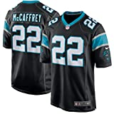 22 Christian McCaffrey Trikot Carolina Panthers Jersey American Football Trikot Mens Black Size L(44)