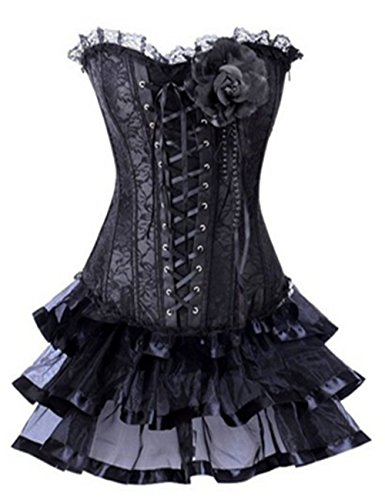 Damen Petticoat Lace up Overlay Tutu Mini Rock Corsage Kleid Kostüm Schwarz-Schwarz