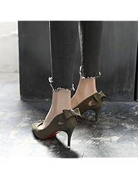 GAOLIM Los Zapatos De Tacón Alto En La Primavera De Punta Fina Con Luz Negra La Pajarita Solo Zapatos Zapatos...