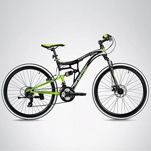 Bergsteiger Kodiak 26 Zoll Mountainbike, geeignet ab 150 cm, Scheibenbremse, Shimano 21 Gang-Schaltung, Vollfederung, Jungen-Fahrrad & Herren-Fahrrad