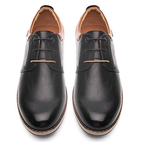 Zapatos Oxford Cómodos Casual para Hombre - Zapatos de Cordones, Adecuado para El Trabajo y el Uso Diario, Zapatos Derby Cuero de Imitación, Conveniente para Todas Las Estaciones SS001-BLACK-42