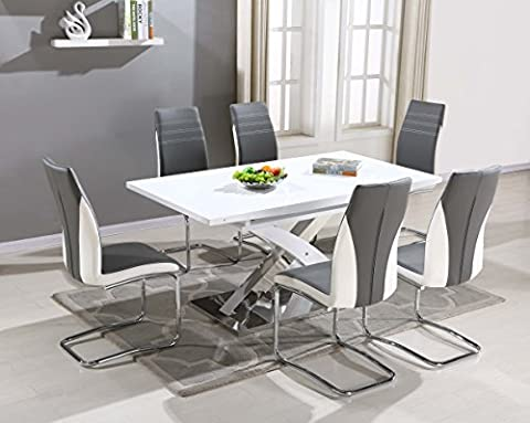 Pescara Dining Table Set and 4/6/8 Upholstered Padded Grey and White Faux Leather Chairs by FURNITUREONE® (Table &6