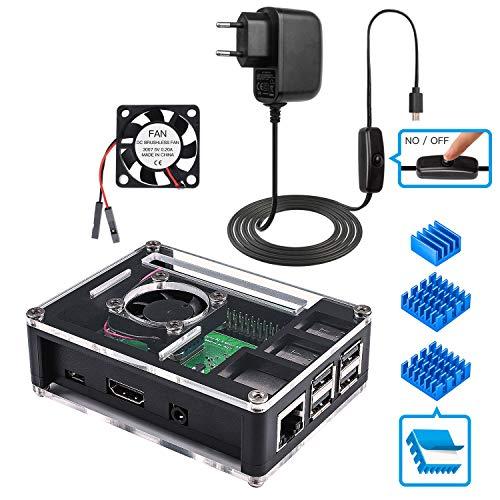 Miuzei Raspberry Pi 3 B+ Gehäuse, 5V 3A Netzteil mit Schalter, Lüfter, 3 × Kühlkörper, Kompatibel mit Raspberry Pi 3b+, 3b, 2(Raspberry Pi Boards Nicht enthalten)