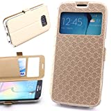 ScorpioCover Flip Tasche Book Style Star Design für Samsung Galaxy S6 Edge Schutz Hülle Flip Cover Case mit Magnetverschluss Klapp Tasche Champagner Gold
