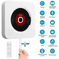 SAWAKE Bluetooth CD Player an der Wand montierbaren mit Fernbedienung / Timing-Funktion / FM-Radio Eingebauter HiFi-Lautsprecher, unterstützt USB / MP3 / SD / 3,5 mm Kopfhörerbuchse/AUX Ein-Ausgang