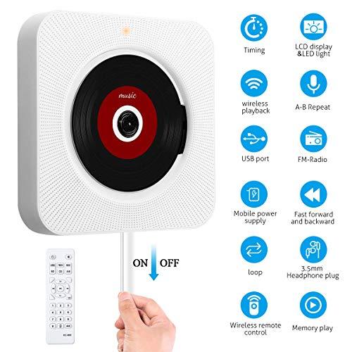 SAWAKE Bluetooth CD Player an der Wand montierbaren mit Fernbedienung / Timing-Funktion / FM-Radio Eingebauter HiFi-Lautsprecher, unterstützt USB/ MP3/ SD/ 3,5 mm Kopfhörerbuchse/AUX EIN-Ausgang